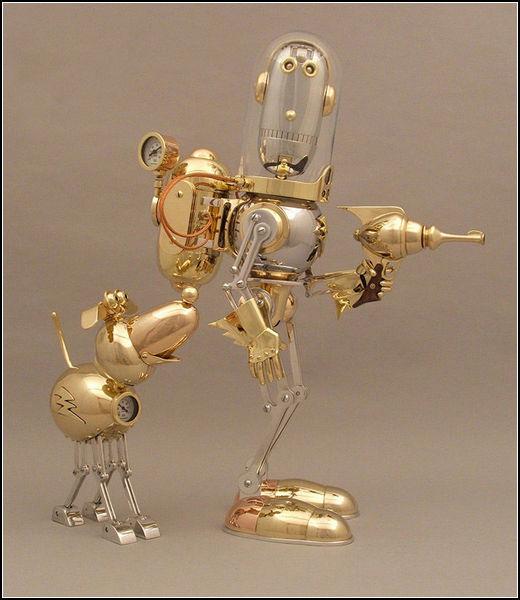 Забавные роботы в стиле стимпанк. Автор: Lawrence Northey