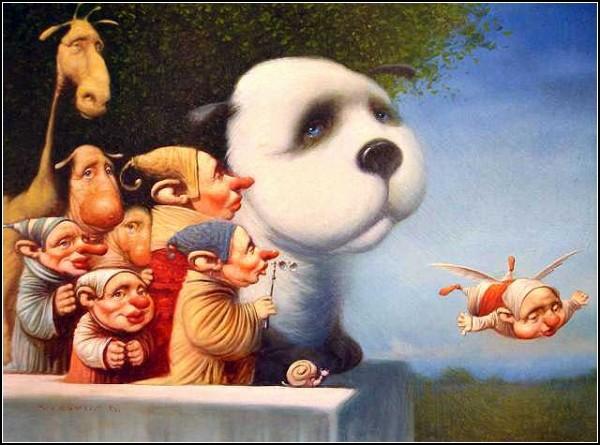 То ли эльфы, то ли гномы: маленькие человечки на картинах Дмитрия Яковина