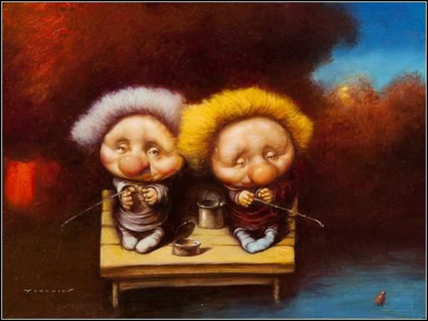 Маленькие человечки на картинах Дмитрия Яковина: *На рыбалке*
