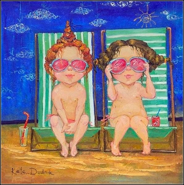 Дети на картинах Екатерины Дудник: *Розовые очки*