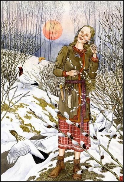 Женское начало в природе на иллюстрациях Николая Фомина: *Верба*