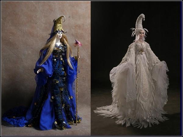 Коллекционные куклы Земфиры Дзиовой: *Лесная царица* и *Белая птица*