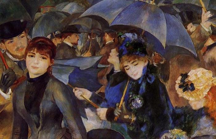 «Зонтики» -картина Огюста Ренуара, посвященная черному, на которой нет черного цвета. Фрагмент.