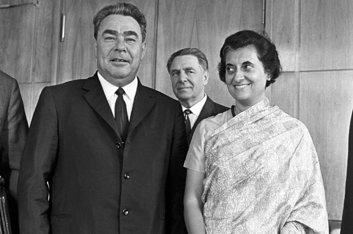 Генеральный секретарь ЦК КПСС Леонид Брежнев и премьер-министр Индии Индира Ганди, 1973 год.