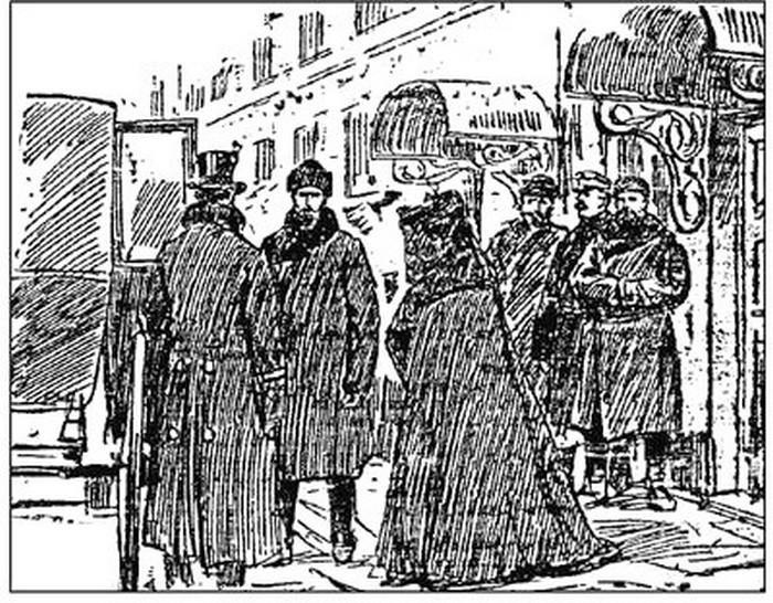 Отъезд подсудимой из зала суда перед бегством. «Петербуржский листок», 1907 г., №335, 6 декабря.