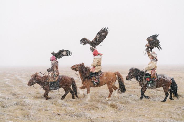Монгольские мужчины отправляются на соколиную охоту.