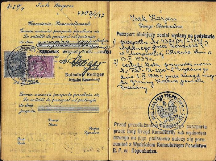 Польский паспорт, используемый в Дании до марта 1940 года. Еврей с этим паспортом бежал в Швецию во время войны.