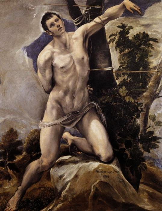 Мученичество Себастьяна - легионера, ставшего святым. Предположительно полотно Микеланджело.