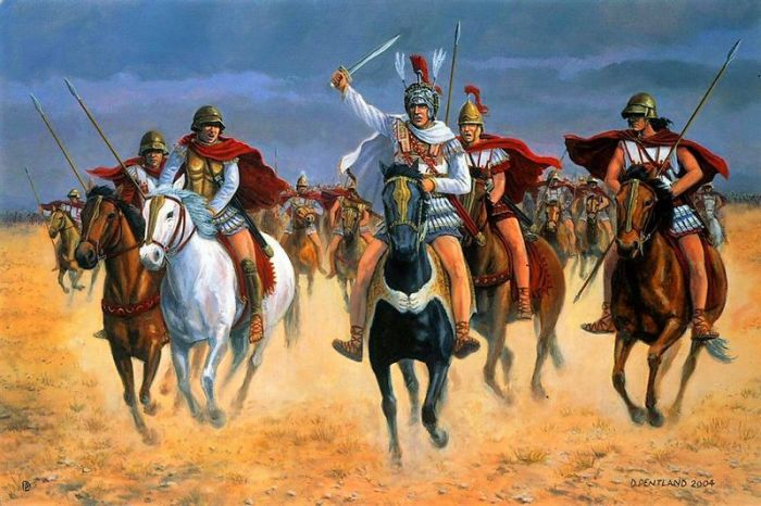 Македонский ведёт конницу в атаку.