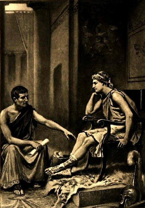 Аристотель, философ из македонского города Стагир, обучает молодого Александра в королевском дворце Пелла.