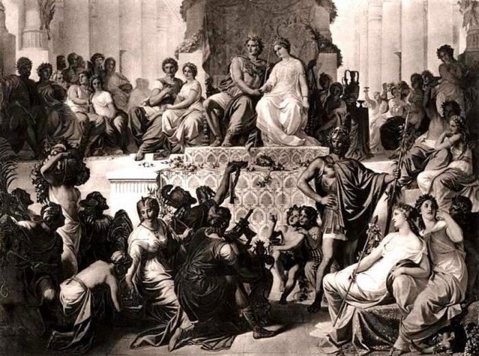 Бракосочетания Статиры II с Александром Македонским и ее сестры Дрипетиды с Гефестионом в Сузах в 324 г. до н.э. Гравюра конца XIX века