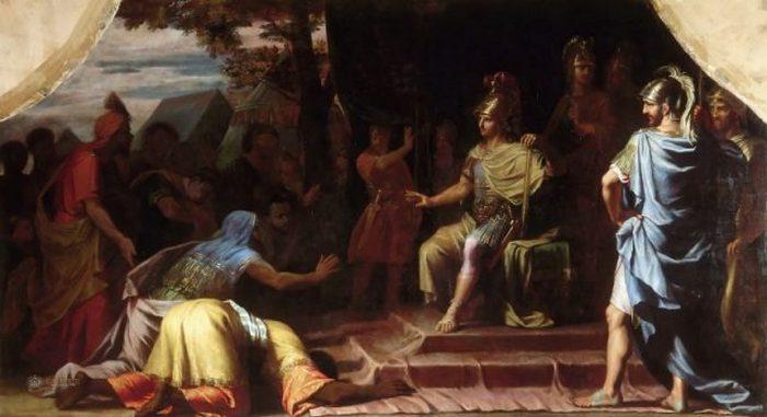 Александр Македонский, получивший известие о смерти от самосожжения индийского гимнософист Калана. Картина Жана-Батиста де Шампань, 1672 г.