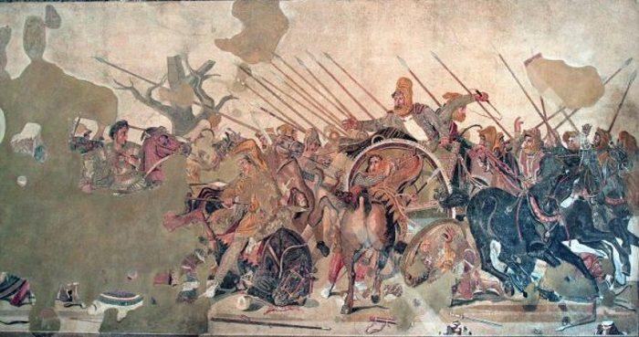 Деталь мозаики Александра с изображением битвы при Иссе. Мозаика находится в Доме Фавна в Помпеях