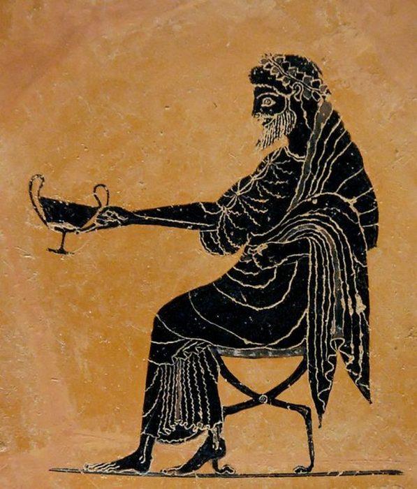 Дионис, протягивающий чашу для питья (канфар), конец VI века до нашей эры.