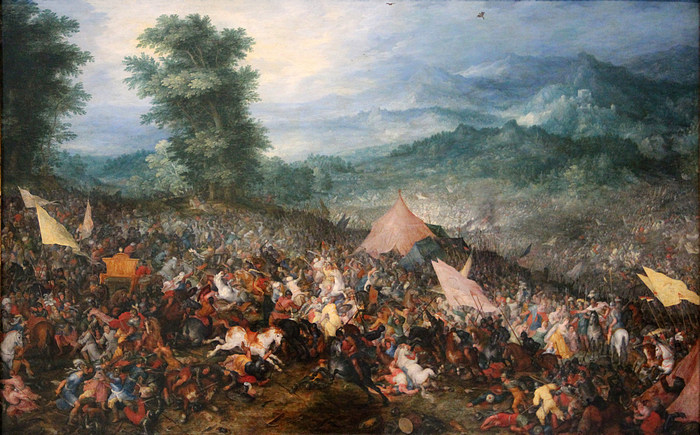 Битва при Гавгамелах, картина XVII века. Примечательно, что воины одеты в доспехи того же времени.