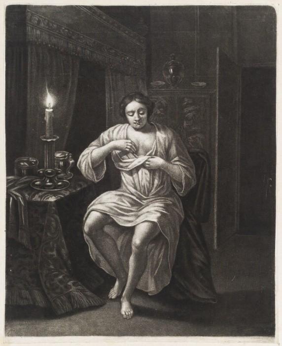 Женщина, ищущая блох при свечах.  Роберт Робинсон. Около 1683-1688