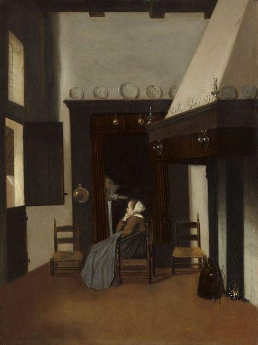 Картина «Маленькая медсестра» Якоба Врела изображает женщину, читающую книгу в кровати-коробке. Рядом сидит ее компаньонка, которая смотрит в окно.