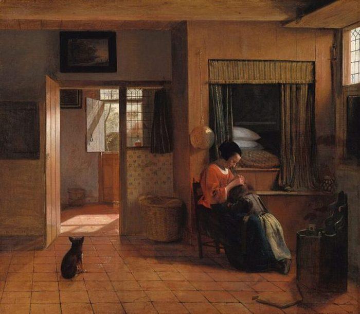 На картине «Материнский долг» Питера де Хоха изображена женщина, вычесывающая вшей из волос своего ребенка. За ними можно увидеть кровать-коробку, в которую можно забраться, использовав сундук в качестве ступеньки.