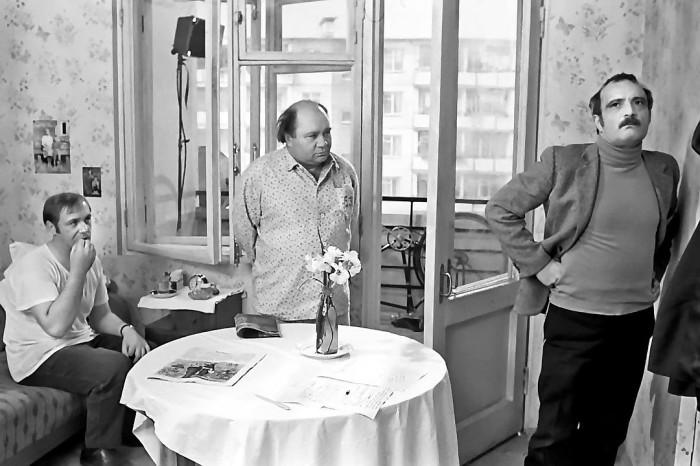 Леонид Куравлев, Евгений Леонов и Георгий Данелия на съемочной площадке фильма «Афоня».