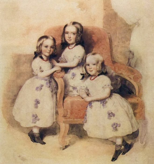 Дочери Дантеса: Слева направо: Леони, Матильда, Берта. Акварель Леопольда Фишера. 1843: