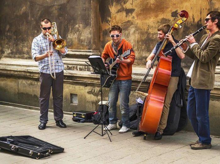 Уличные музыканты на улицах Праги.