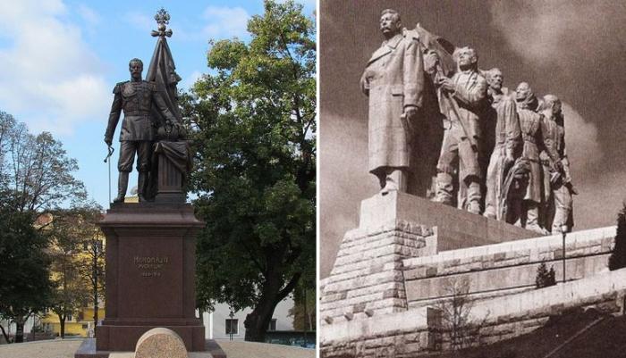 Истории зарубежных памятников русским правителям.