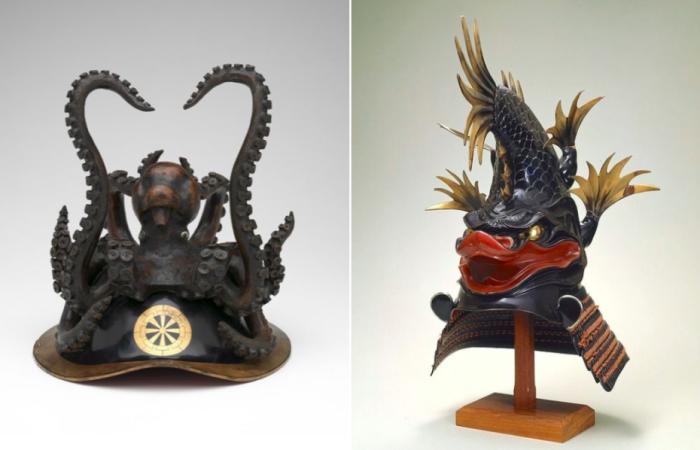 Слева - церемониальный шлем, украшенный осьминогом и колесницей, XIX век. Справа - церемониальный шлем в виде рыбы.