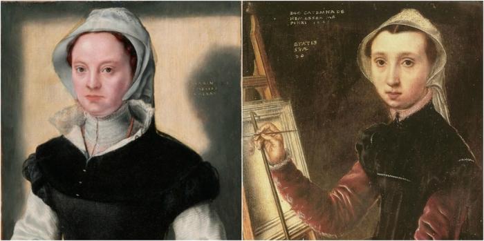 Катерина ван Хемессен - первая, создавшая автопортрет художника за работой.
