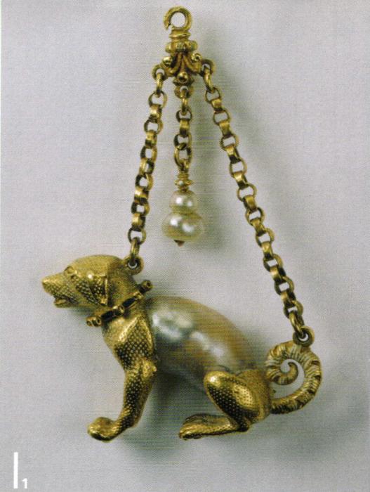 Подвеска в виде охотничьей собаки,1560, золото, жемчуг