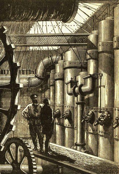Оригинальная иллюстрация машинного отделения «Наутилуса» Жюля Верна