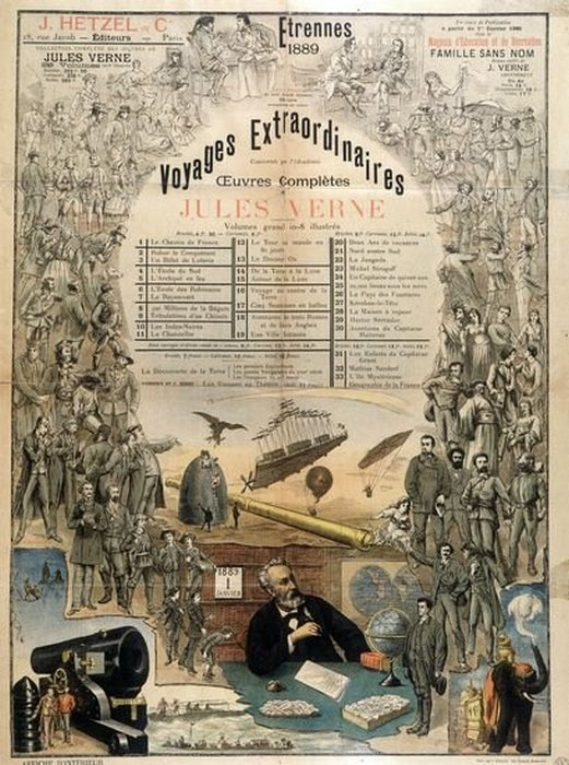 Плакат Этцеля 1889 года, рекламирующий работы Верна