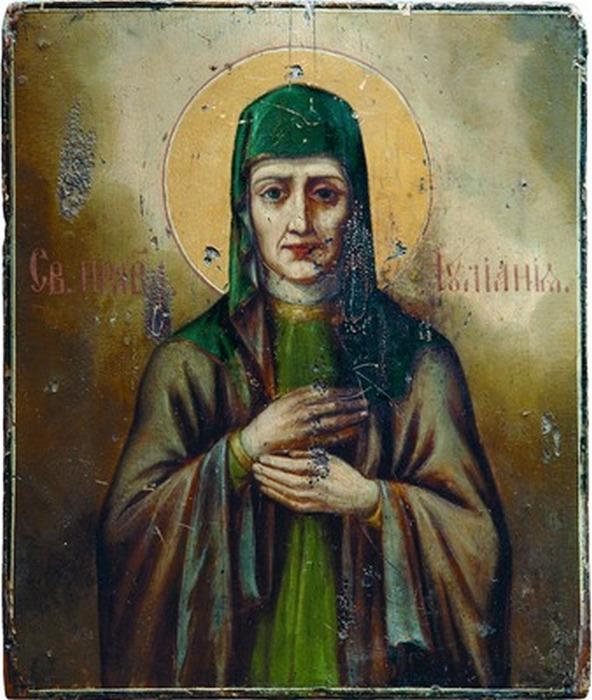 Икона св. Иулиании Лазаревской из Благовещенского монастыря города Мурома. XIX век.