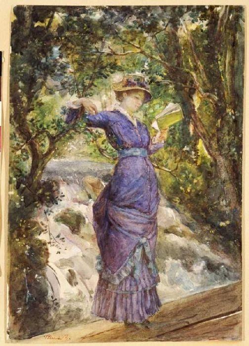 Девушка, читающая у водопада. Картина Марии Башкирцевой.