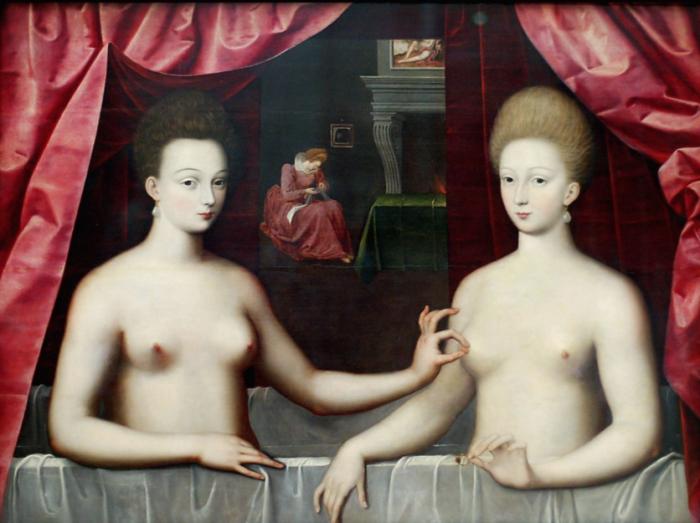 Габриэль д'Эстре с сестрой. Неизвестный художник школы Фонтенбло