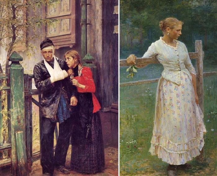 Картины «Раненный рабочий» и «Девушка у изгороди».