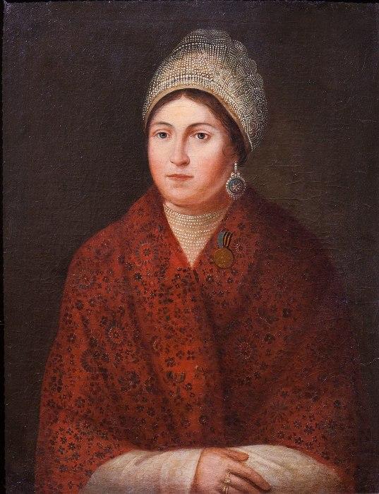 Портрет Василисы Кожиной. Художник Александр Смирнов. 1813 г.