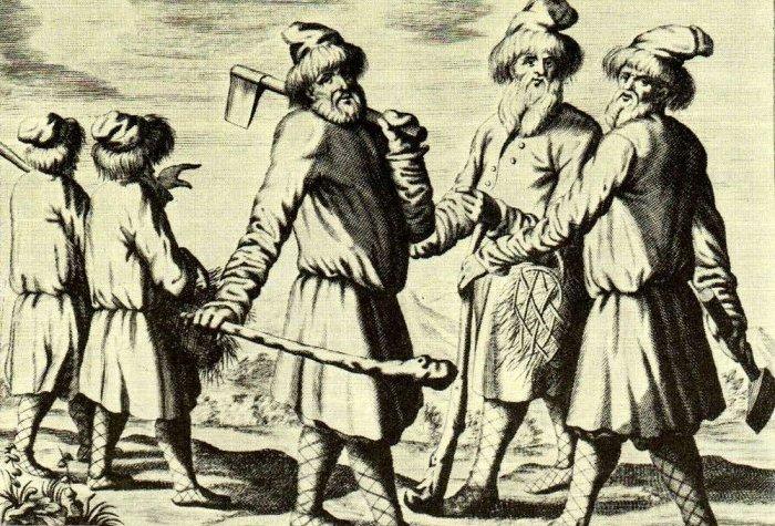 Труд на земле был очень тяжелым, инвентарь был скудным.Русские крестьяне XVII в. Гравюра из книги А. Олеария