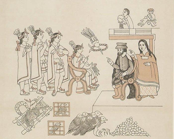 Кортес и Малинче встречаются с Монтесумой в Теночтитлане, 8 ноября 1519 года.