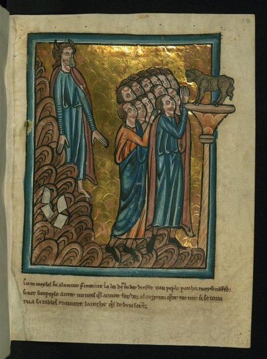 Моисей на иллюстрации в рукописи XIII века
