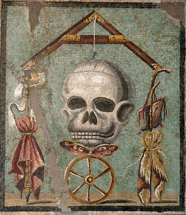 Мозаика I века нашей эры, найденная в руинах Помпей. На изображении можно увидеть череп, на котором сохранились уши.