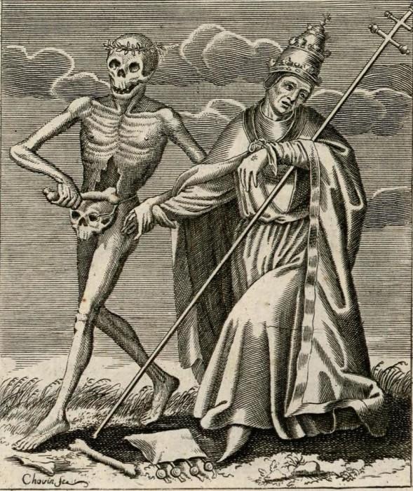 Француз Жак-Антуан Човин сделал серию гравюр, где смерть изображена как человек, но с черепом вместо лица.