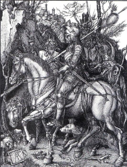 В «Рыцаре, смерти и дьяволе» немецкий художник Альбрехт Дюрер представлял мрачного «жнеца душ» как полуразложившегося короля со змеями на голове.
