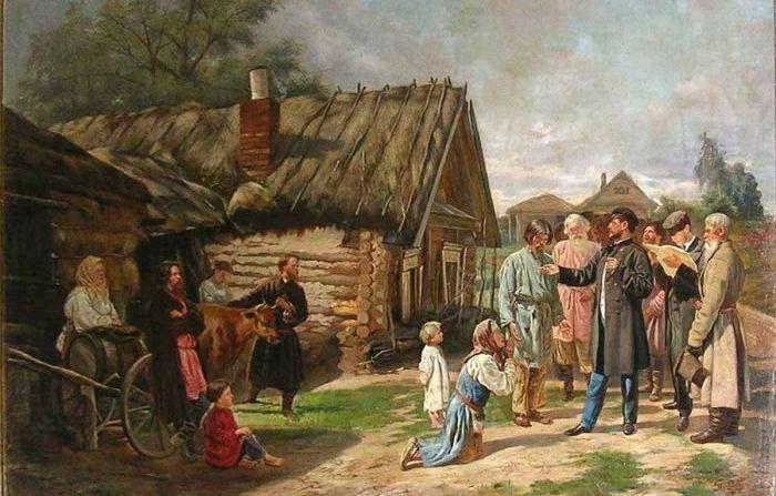 Художник Василий Пукирев, «Сбор недоимок», 1875.