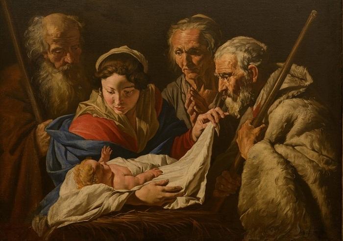 Матиас Стомер. Поклонение Младенцу. (2-я четверть XVII века).