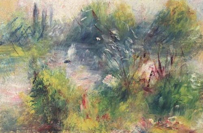 «Пейзаж на берегу Сены» . Ренуар