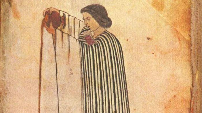 Коренной мексиканец наливает шоколад (изображение из Кодекса Тудела)<br>