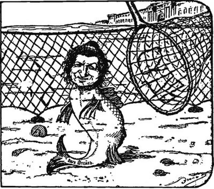 Карикатура из «Петербуржской газеты» 1908 г., №340, 10 декабря.)