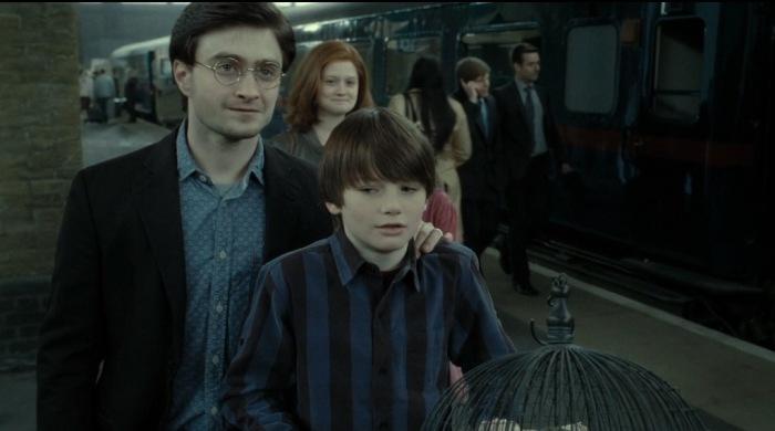 Альбус Северус Поттер с отцом.