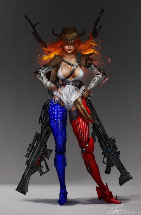 Девушка-воин, воплощающая США.