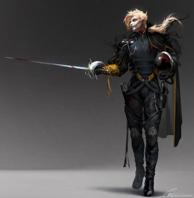 Герой Франции почти лишен брони, но при этом он предпочитает другой вид атаки - более изящный и старомодный. Однако кровь этого героя интересует гораздо сильнее, чем других героев, так как Настя изобразила его  в виде вампира.